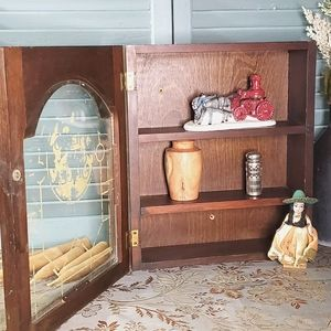 Small Glass Front Wooden Storage Wall Cabinet